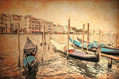 Venetian canal and gondolas Stock Image