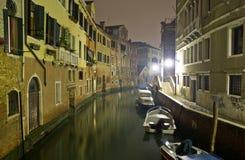 Venetian canal at night. Venetian canal at night, Italy Stock Photo