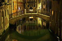 Venetian canal at night Stock Photos