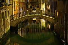 Venetian canal at night Stock Photos