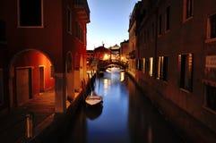 Venetian canal at night, Venice, Italy Royalty Free Stock Photo