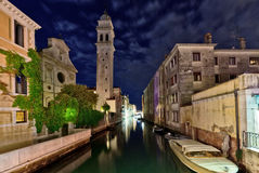 Venetian canal at night Stock Photography