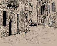 Venetian canal and Unique gondola with tourists among old houses in Venice. Digital Sketch Hand Drawing. Vector. Illustration Stock Image
