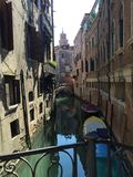 Venetian canal view from a bridge royalty free stock photo
