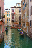 Venetian canals with gandolerami, Venice, Italy Stock Photography