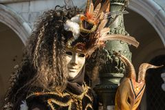 Traditional venetian carnival costume mask Royalty Free Stock Photography