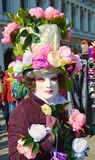 Venetian carnival, flowery mask, Venice, Italy royalty free stock images