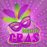 Venetian carnival mardi gras colorful party mask on purple background  illustration. Fat tuesday holyday background Stock Photos