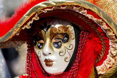 Venetian Carnival Mask. Unidentified person with traditional Venetian carnival mask Royalty Free Stock Photography