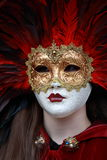 Venetian carnival mask. Carnival mask, gold and red, in Venice Stock Photos