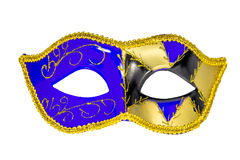 Venetian Carnival Mask blue yellow black patterned asymmetrical Stock Photo