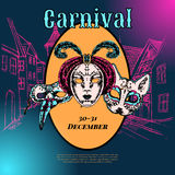 Venetian carnival mask composition poster Stock Photos