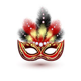 Venetian carnival mask emblem. Red venetian carnival mardi gras colorful party mask with decoration feathers and diamonds vector illustration royalty free illustration