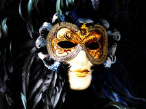 Venetian carnival mask - gold and black. Beautiful venetian mask, found in a shop around Rialto Bridge in Venice, Italy Stock Images