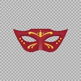 Venetian carnival mask hand painted  on a transparent background. Decoration element costume for the masquerade, parties and various celebrations. Vector Stock Photography