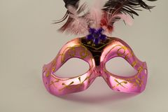 Venetian carnival mask isolated on white background. New Year`s mask. stock image