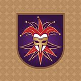 Venetian carnival mask. Mask carnival on a purple background. Venetian carnival mask. Carnival mask on a purple background. Brown pattern background. Element Stock Photography