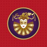 Venetian carnival mask. Mask carnival on a purple background. Red pattern background. Element for decoration Royalty Free Stock Image