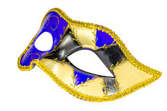 Venetian Carnival mask profile blue yellow black patterned asymm Royalty Free Stock Photos