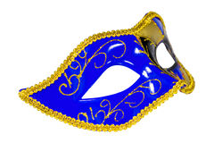 Venetian Carnival mask profile blue yellow black patterned asymm Stock Photography