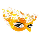Venetian carnival mask and smoky eyes. Mardigras masquerade costume and curtain design Stock Photo