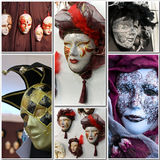 Venetian Carnival masks. Collage of different traditional Venetian Carnival masks Stock Image