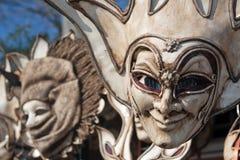 Venetian carnival masks. Two brown decorative carnival masks in venice Royalty Free Stock Photo