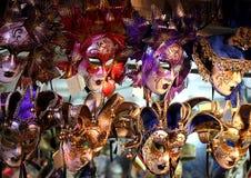 Venetian Carnival Masks at Night, Venice, Italy Stock Image