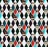 Venetian carnival masks in rhombus, pattern stock illustration