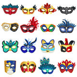 Venetian Carnival Masks Set. Set of different colorful venetian carnival masks with feathers and clowns hat flat isolated vector illustration Stock Image