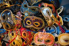 Venetian carnival masks, traditional hand-made. stock images