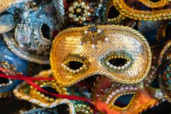 Venetian carnival masks, traditional hand-made. stock photography