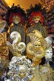 Venetian carnival masks. Venice, Italy - January 27, 2019: magnificent venetian carnival masks in the shop window in Venice stock photos