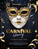 Venetian carnival poster. Carnival poster with white mask and streamers in 3d illustration, glitter on blue background