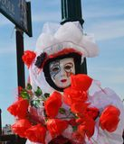 Venetian carnival, white mask with decorations, Venice, Italy Stock Photos