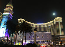 Venetian Casino Building in Macao at Night Stock Photo