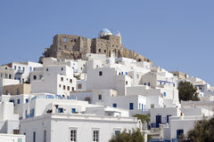 Venetian Castle - Astypalea Island  Greece. Panoramic view of Chora with the historic Querini Castle stands at the top - Dodecanese Islands  Greece Royalty Free Stock Photography
