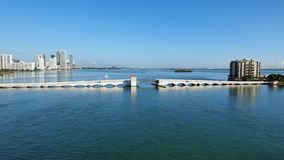 The Venetian Causeway between Miami and Miami Beach, Florida. The Venetian Causeway between Miami and Miami Beach, Florida, on a clear autumn morning stock images