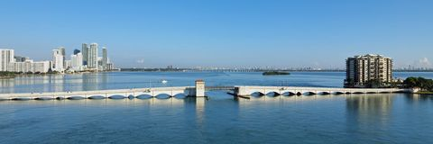 The Venetian Causeway between Miami and Miami Beach, Florida. The Venetian Causeway between Miami and Miami Beach, Florida, on a clear autumn morning royalty free stock photo