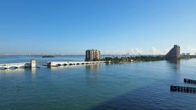The Venetian Causeway between Miami and Miami Beach, Florida. The Venetian Causeway between Miami and Miami Beach, Florida, on a clear autumn morning stock photos