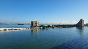 The Venetian Causeway between Miami and Miami Beach, Florida. The Venetian Causeway between Miami and Miami Beach, Florida, on a clear autumn morning royalty free stock images