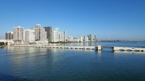 The Venetian Causeway between Miami and Miami Beach, Florida. The Venetian Causeway between Miami and Miami Beach, Florida, on a clear autumn morning royalty free stock photos