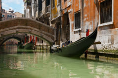 Venetian channels. Gondola tour of the channels of Venice stock photography