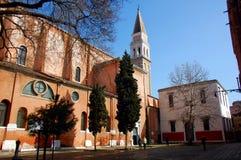 Venetian church courtyard in sunny day. Venice, Italy Royalty Free Stock Photo