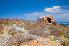 Venetian church in fort at Gramvousa island Crete Royalty Free Stock Images
