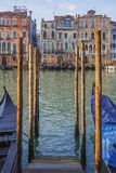 Venetian cityscape with palaces, gondolas and canal. Venice, Italy Royalty Free Stock Images