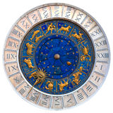 Venetian clock. Clock-face of beautiful astrological venetian clock Royalty Free Stock Photos