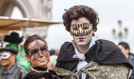 Venetian Couple - Venice Carnival 2014 Stock Photography