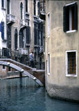 Venetian Crossroads 2. This intersection of two canals in Venice gives the illusion that the homes are floating Stock Image