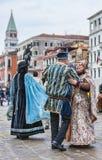 Venetian dansa för par Royaltyfri Bild